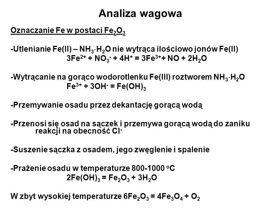 Analiza wagowa Oznaczanie Fe w postaci Fe 2 O 3 -Utlenianie Fe(II) – NH 3 H 2 O nie wytrąca ilościowo jonów Fe(II) 3Fe 2+ + NO 3 - + 4H + = 3Fe 3+ + NO + 2H 2 O -Wytrącanie na gorąco wodorotlenku Fe(III) roztworem NH 3 H 2 O Fe 3+ + 3OH - = Fe(OH) 3 -Przemywanie osadu przez dekantację gorącą wodą -Przenosi się osad na sączek i przemywa gorącą wodą do zaniku reakcji na obecność Cl - -Suszenie sączka z osadem, jego zwęglenie i spalenie -Prażenie osadu w temperaturze 800-1000 o C 2Fe(OH) 3 = Fe 2 O 3 + 3H 2 O W zbyt wysokiej temperaturze 6Fe 2 O 3 = 4Fe 3 O 4 + O 2