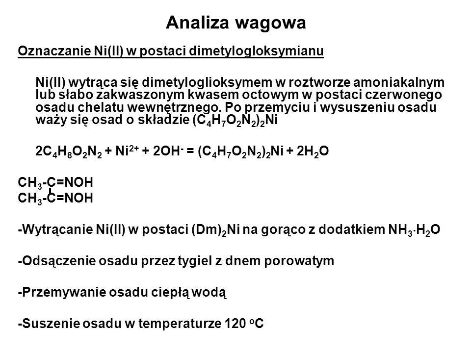 Analiza wagowa Oznaczanie Ni(II) w postaci dimetylogloksymianu Ni(II) wytrąca się dimetyloglioksymem w roztworze amoniakalnym lub słabo zakwaszonym kwasem octowym w postaci czerwonego osadu chelatu wewnętrznego.