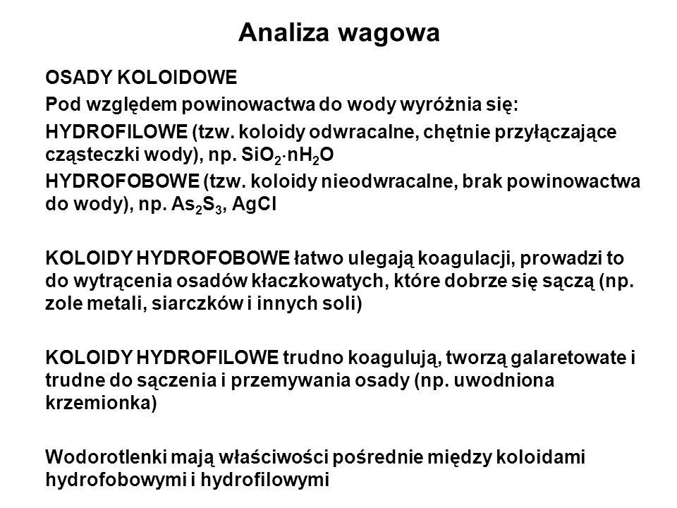 OSADY KOLOIDOWE Pod względem powinowactwa do wody wyróżnia się: HYDROFILOWE (tzw.