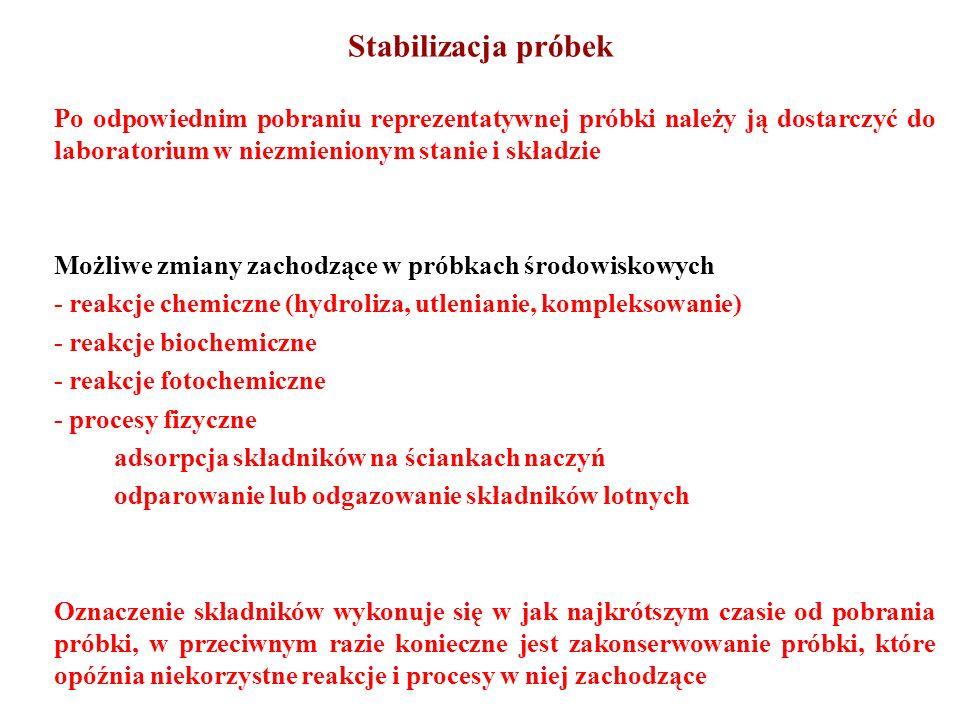 Stabilizacja próbek Po odpowiednim pobraniu reprezentatywnej próbki należy ją dostarczyć do laboratorium w niezmienionym stanie i składzie Możliwe zmi