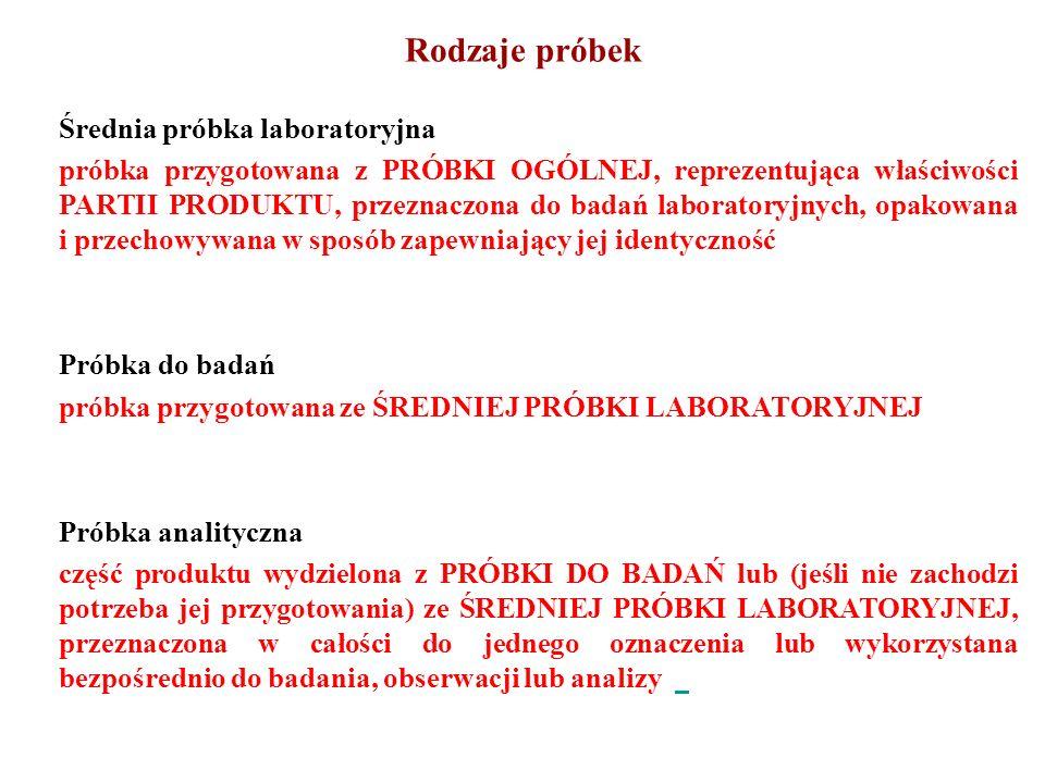 Rodzaje próbek Średnia próbka laboratoryjna próbka przygotowana z PRÓBKI OGÓLNEJ, reprezentująca właściwości PARTII PRODUKTU, przeznaczona do badań la