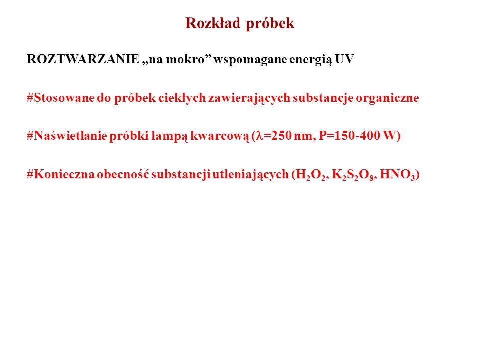 ROZTWARZANIE na mokro wspomagane energią UV #Stosowane do próbek ciekłych zawierających substancje organiczne #Naświetlanie próbki lampą kwarcową ( =2