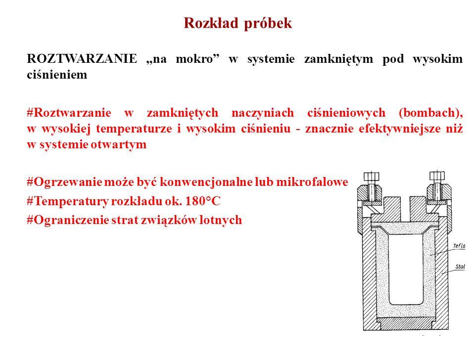 ROZTWARZANIE na mokro w systemie zamkniętym pod wysokim ciśnieniem #Roztwarzanie w zamkniętych naczyniach ciśnieniowych (bombach), w wysokiej temperat