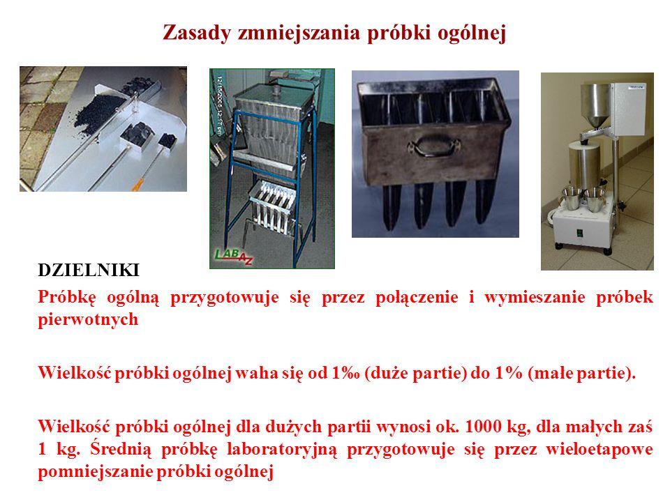 Zasady zmniejszania próbki ogólnej DZIELNIKI Próbkę ogólną przygotowuje się przez połączenie i wymieszanie próbek pierwotnych Wielkość próbki ogólnej
