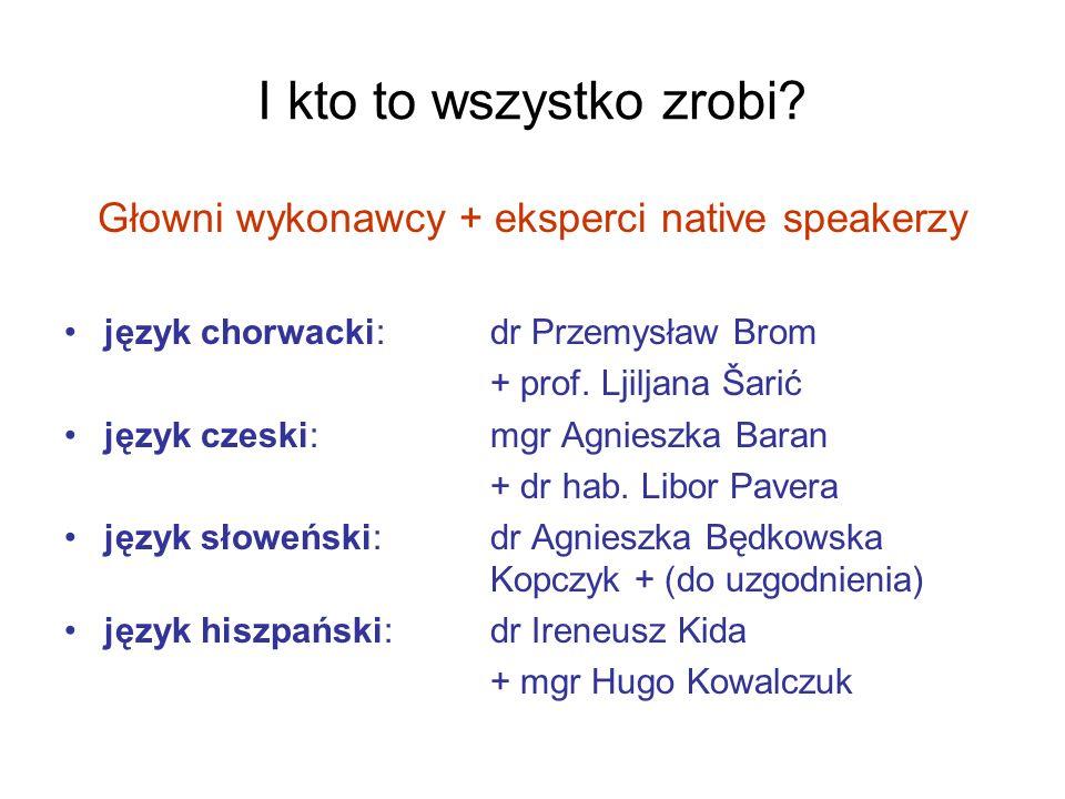 I kto to wszystko zrobi? Głowni wykonawcy + eksperci native speakerzy język chorwacki: dr Przemysław Brom + prof. Ljiljana Šarić język czeski: mgr Agn