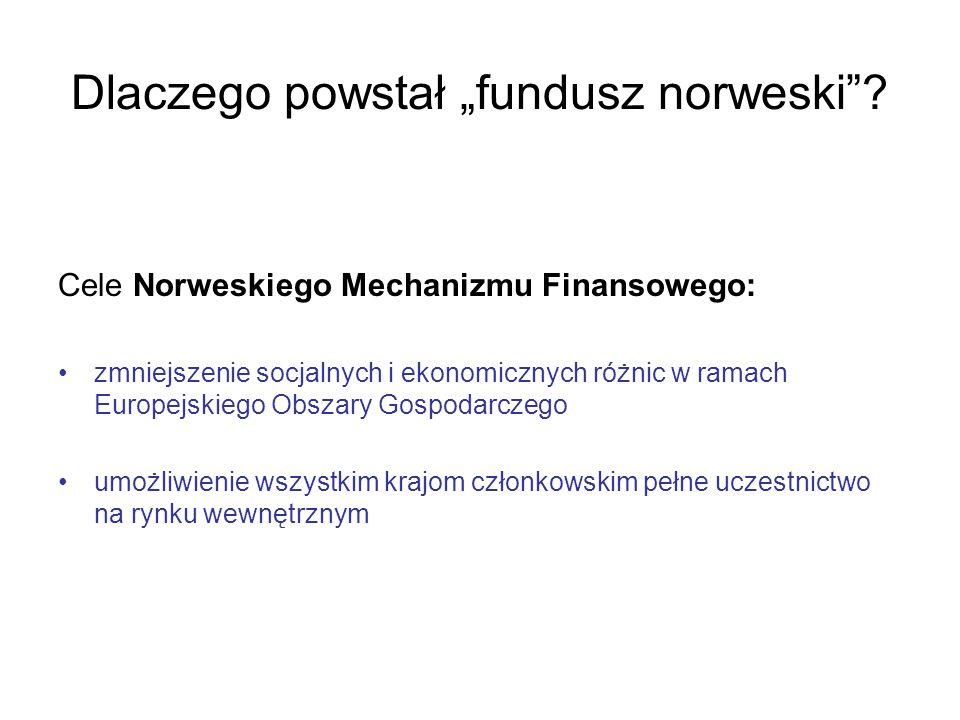 Dlaczego powstał fundusz norweski? Cele Norweskiego Mechanizmu Finansowego: zmniejszenie socjalnych i ekonomicznych różnic w ramach Europejskiego Obsz