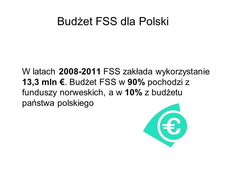 Budżet FSS dla Polski W latach 2008-2011 FSS zakłada wykorzystanie 13,3 mln. Budżet FSS w 90% pochodzi z funduszy norweskich, a w 10% z budżetu państw