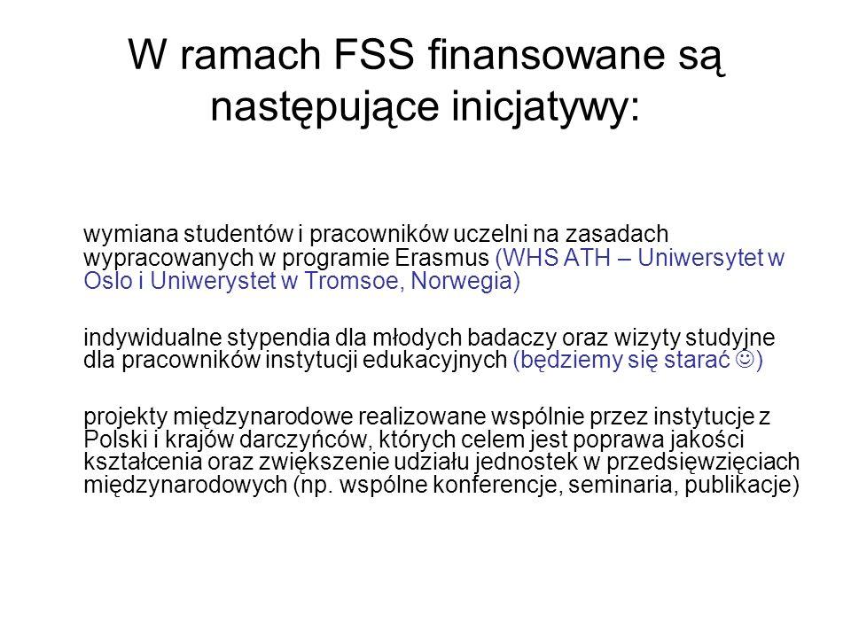 W ramach FSS finansowane są następujące inicjatywy: wymiana studentów i pracowników uczelni na zasadach wypracowanych w programie Erasmus (WHS ATH – U