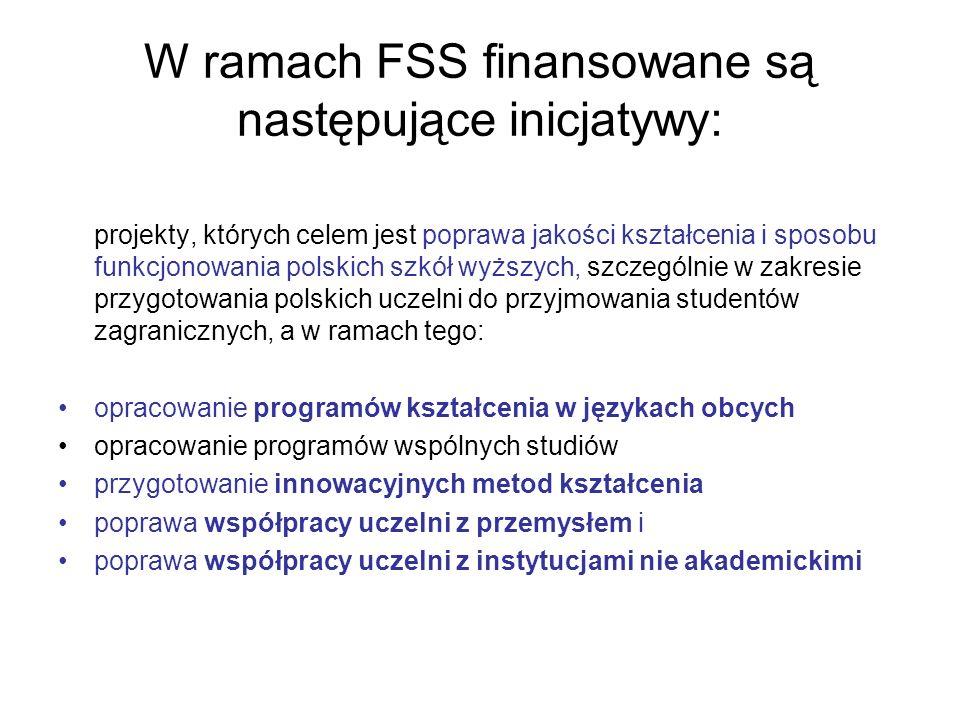 W ramach FSS finansowane są następujące inicjatywy: projekty, których celem jest poprawa jakości kształcenia i sposobu funkcjonowania polskich szkół w