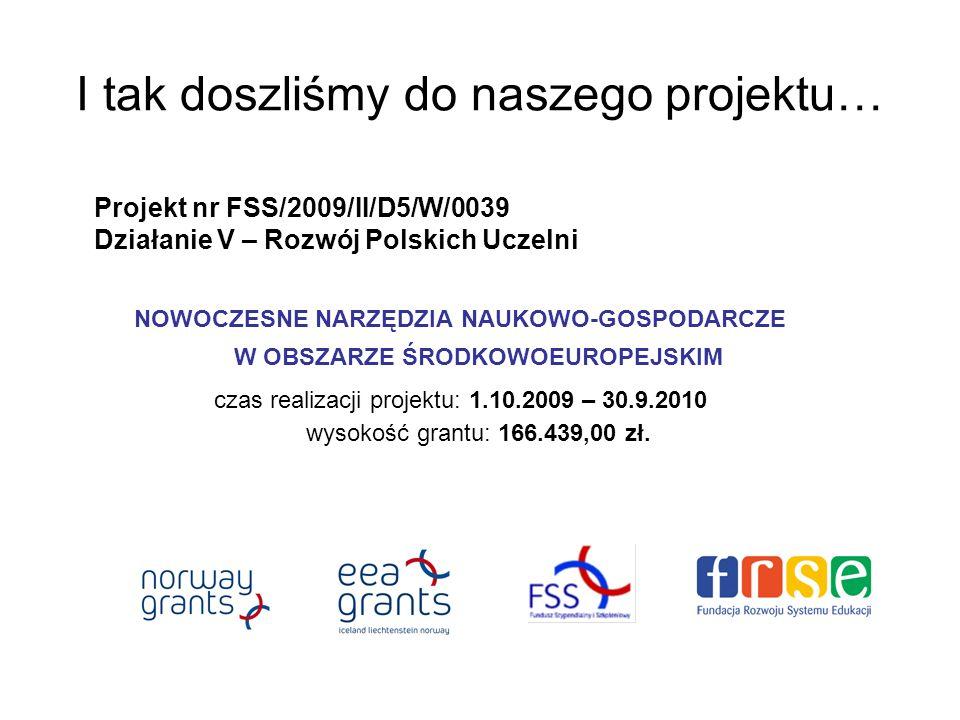I tak doszliśmy do naszego projektu… Projekt nr FSS/2009/II/D5/W/0039 Działanie V – Rozwój Polskich Uczelni NOWOCZESNE NARZĘDZIA NAUKOWO-GOSPODARCZE W