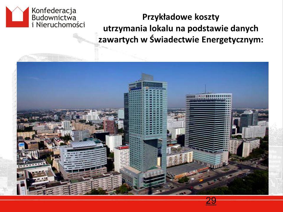 Przykładowe koszty utrzymania lokalu na podstawie danych zawartych w Świadectwie Energetycznym: 29
