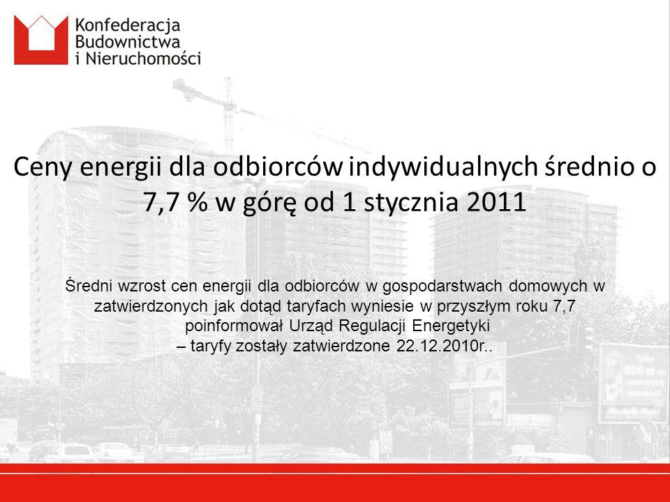 Ceny energii dla odbiorców indywidualnych średnio o 7,7 % w górę od 1 stycznia 2011 Średni wzrost cen energii dla odbiorców w gospodarstwach domowych