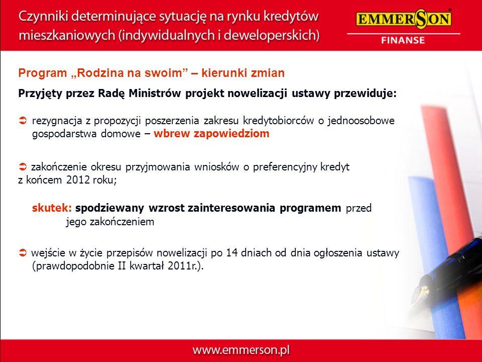 Program Rodzina na swoim – kierunki zmian Przyjęty przez Radę Ministrów projekt nowelizacji ustawy przewiduje: zakończenie okresu przyjmowania wnioskó