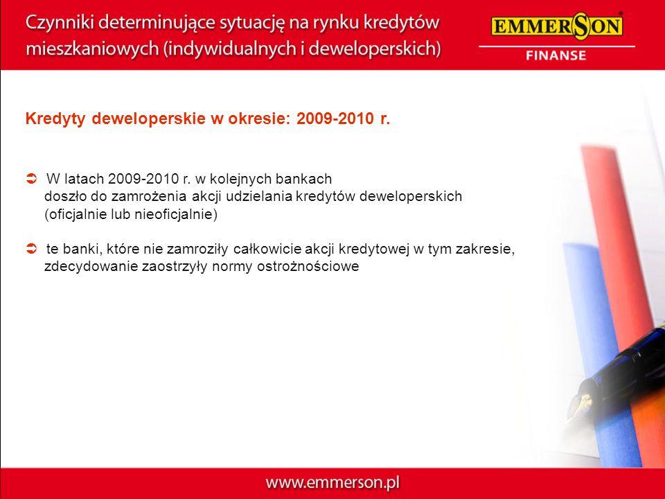 Kredyty deweloperskie w okresie: 2009-2010 r. W latach 2009-2010 r. w kolejnych bankach doszło do zamrożenia akcji udzielania kredytów deweloperskich