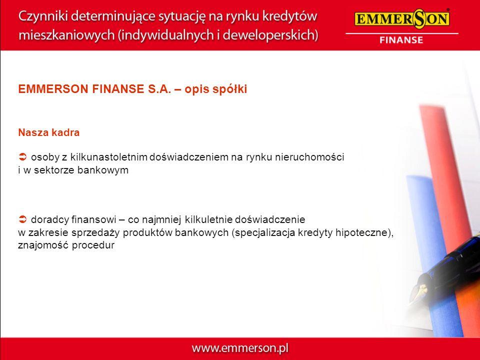 EMMERSON FINANSE S.A. – opis spółki Nasza kadra osoby z kilkunastoletnim doświadczeniem na rynku nieruchomości i w sektorze bankowym doradcy finansowi