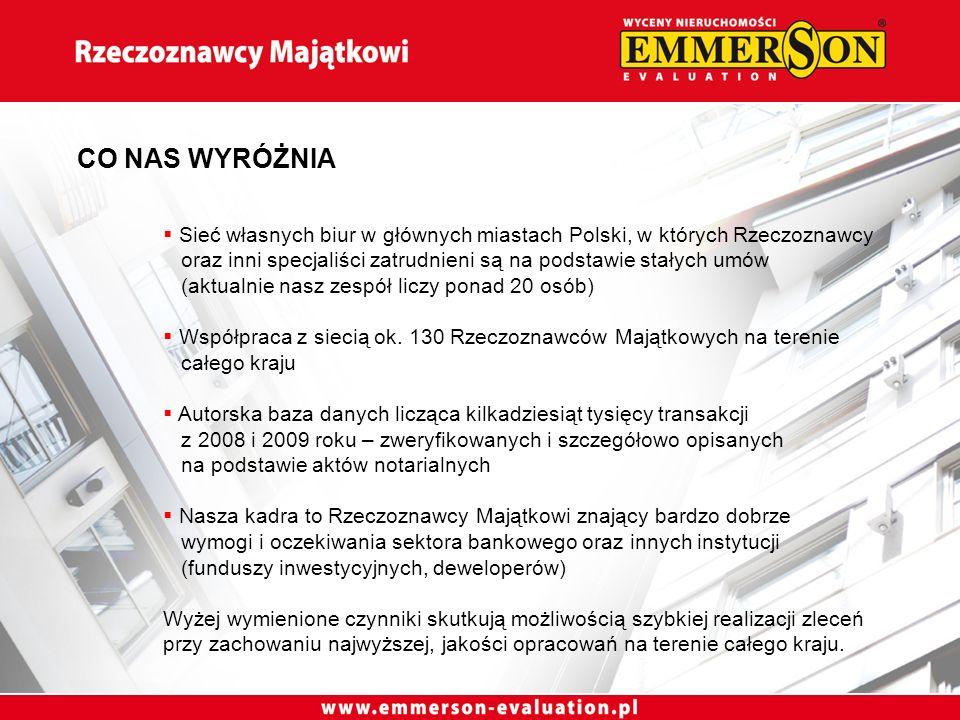 Sieć własnych biur w głównych miastach Polski, w których Rzeczoznawcy oraz inni specjaliści zatrudnieni są na podstawie stałych umów (aktualnie nasz zespół liczy ponad 20 osób) Współpraca z siecią ok.