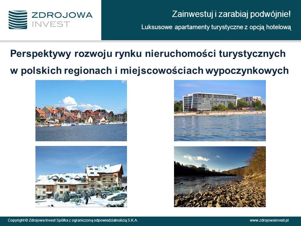 Copyright © Zdrojowa Invest Spółka z ograniczoną odpowiedzialnością S.K.A.www.zdrojowainvest.pl Perspektywy rozwoju rynku nieruchomości turystycznych w polskich regionach i miejscowościach wypoczynkowych