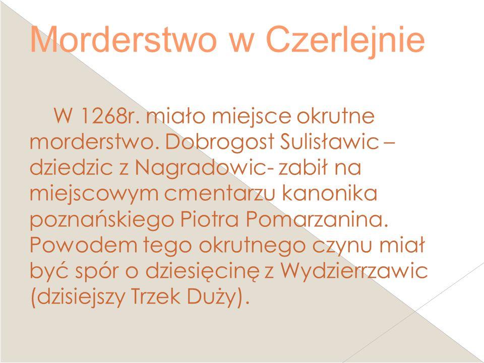 Morderstwo w Czerlejnie W 1268r. miało miejsce okrutne morderstwo. Dobrogost Sulisławic – dziedzic z Nagradowic- zabił na miejscowym cmentarzu kanonik