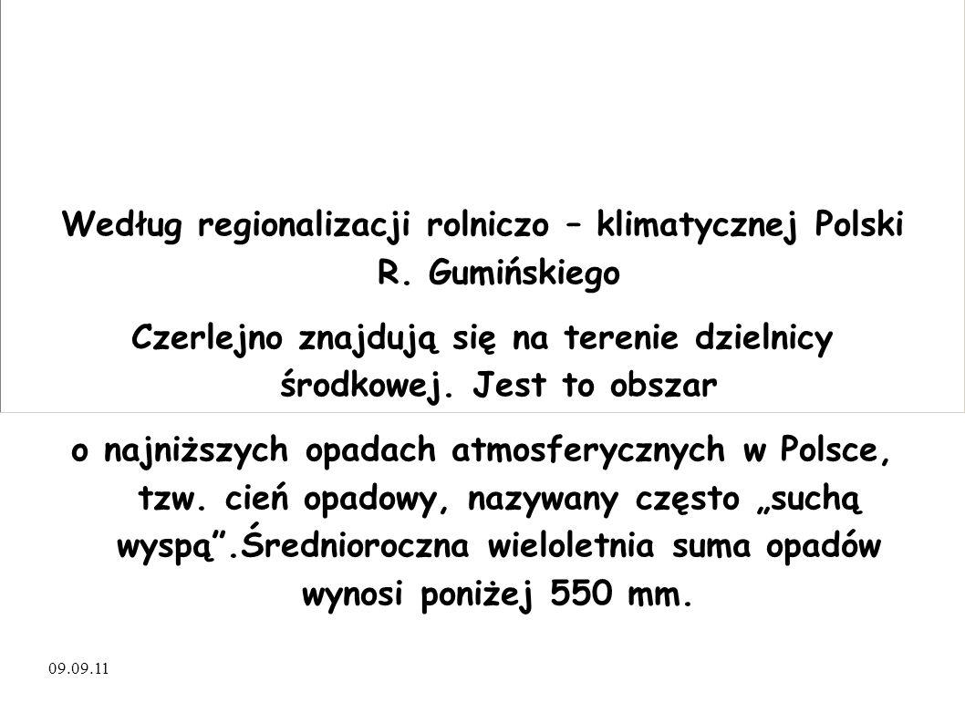 Według regionalizacji rolniczo – klimatycznej Polski R. Gumińskiego Czerlejno znajdują się na terenie dzielnicy środkowej. Jest to obszar o najniższyc
