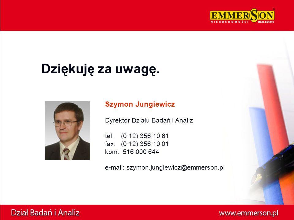 Dziękuję za uwagę. Szymon Jungiewicz Dyrektor Działu Badań i Analiz tel.