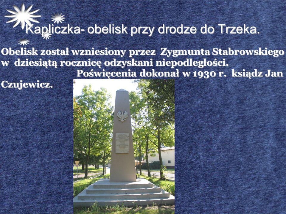 Kapliczka- obelisk przy drodze do Trzeka. Obelisk został wzniesiony przez Zygmunta Stabrowskiego w dziesiątą rocznicę odzyskani niepodległości. Poświę