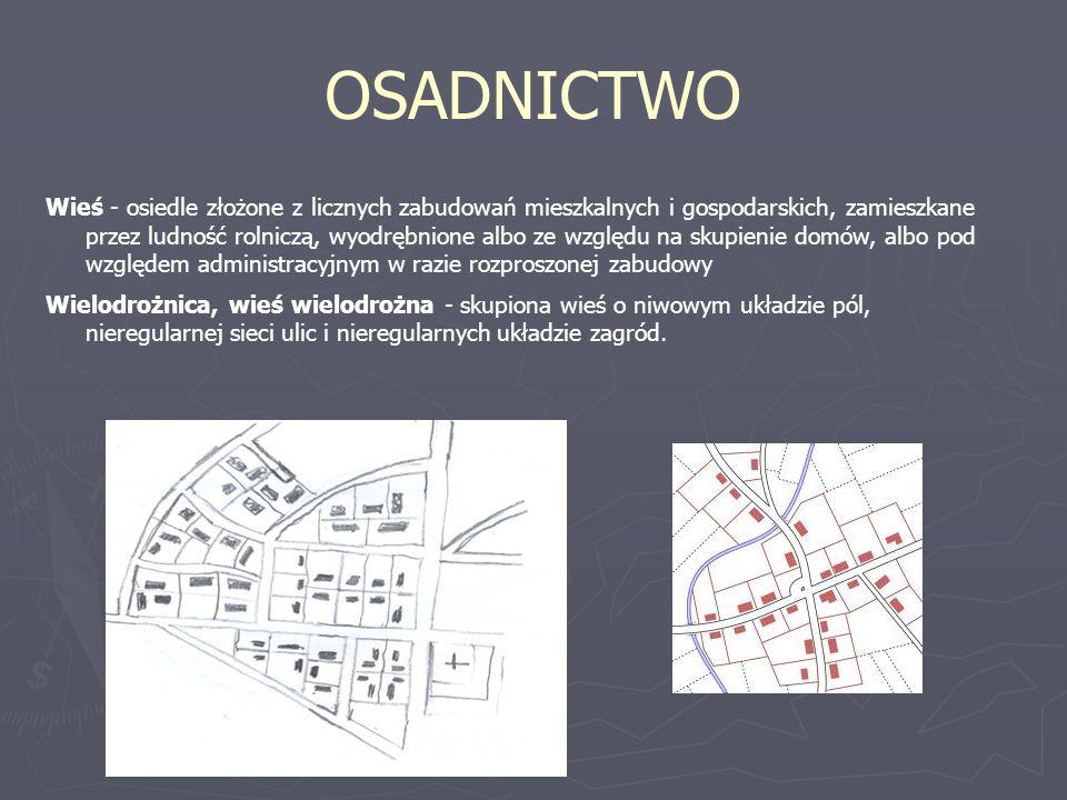 OSADNICTWO Wieś - osiedle złożone z licznych zabudowań mieszkalnych i gospodarskich, zamieszkane przez ludność rolniczą, wyodrębnione albo ze względu na skupienie domów, albo pod względem administracyjnym w razie rozproszonej zabudowy Wielodrożnica, wieś wielodrożna - skupiona wieś o niwowym układzie pól, nieregularnej sieci ulic i nieregularnych układzie zagród.