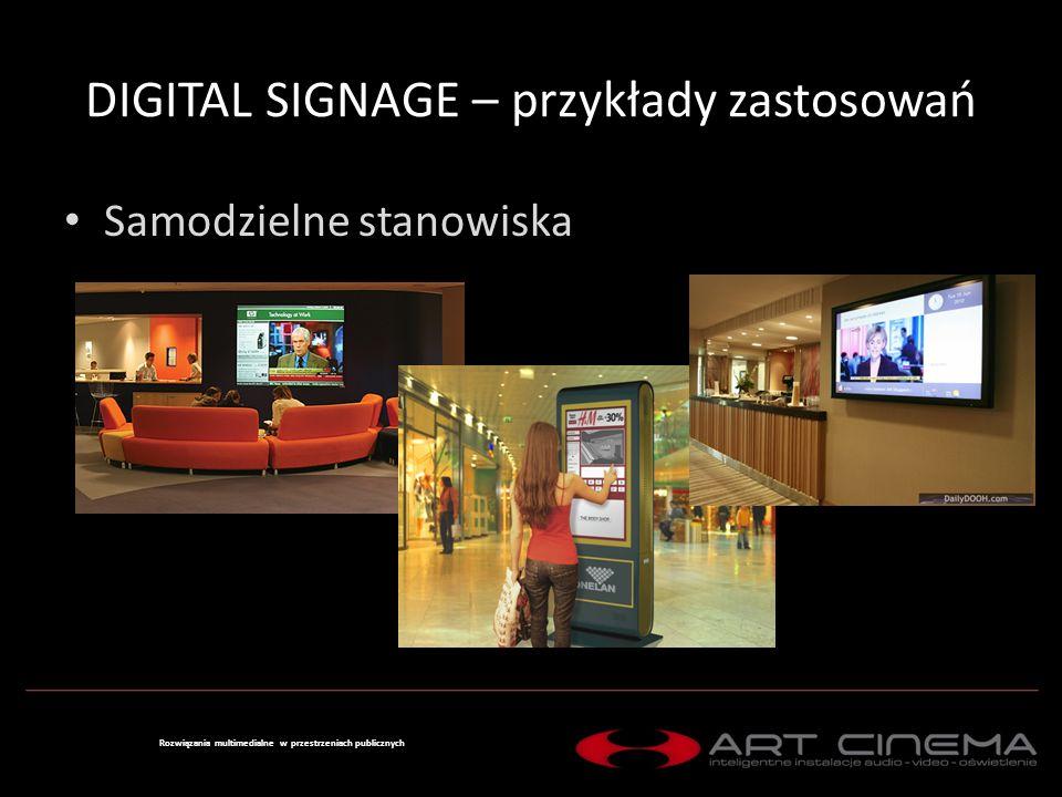DIGITAL SIGNAGE – przykłady zastosowań System wielopunktowy lokalny Rozwiązania multimedialne w przestrzeniach publicznych