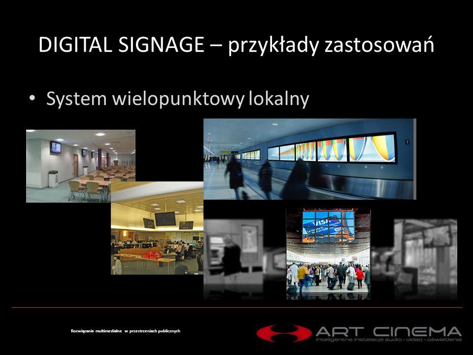 DIGITAL SIGNAGE – przykłady zastosowań System rozproszony Rozwiązania multimedialne w przestrzeniach publicznych