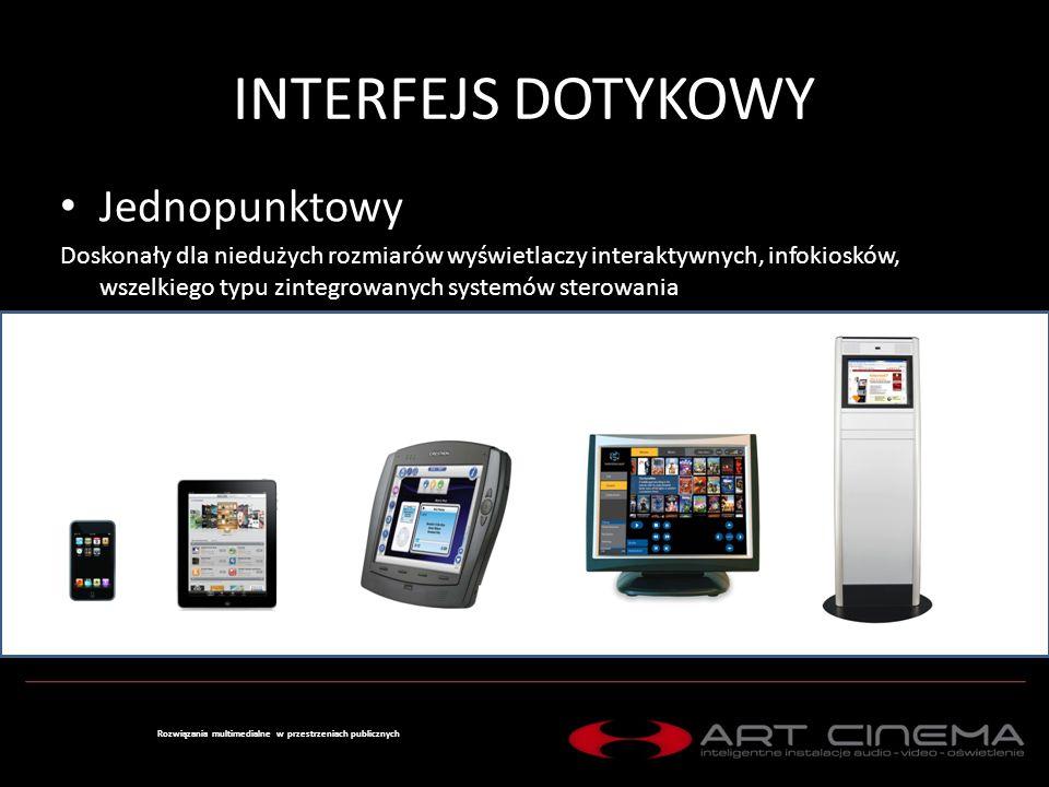 INTERFEJS DOTYKOWY Wielopunktowy – Multitouch Zdecydowanie przewidziany do większych rozmiarów ekranów dotykowych, zapewniający znaczącą poprawę obsługi wyświetlanej treści Rozwiązania multimedialne w przestrzeniach publicznych