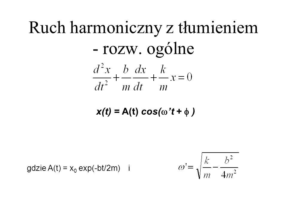 Ruch harmoniczny z tłumieniem - rozw. ogólne x(t) = A(t) cos( t + ) gdzie A(t) = x 0 exp(-bt/2m) i