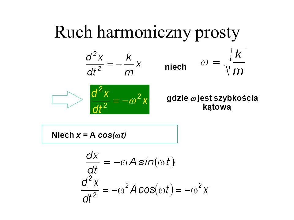 Niech x = A cos( t) niech gdzie jest szybkością kątową