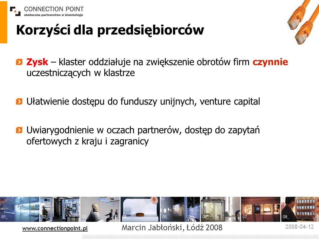 2008-04-12 : www.connectionpoint.pl Marcin Jabłoński, Łódź 2008 Korzyści dla przedsiębiorców Zysk – klaster oddziałuje na zwiększenie obrotów firm czy