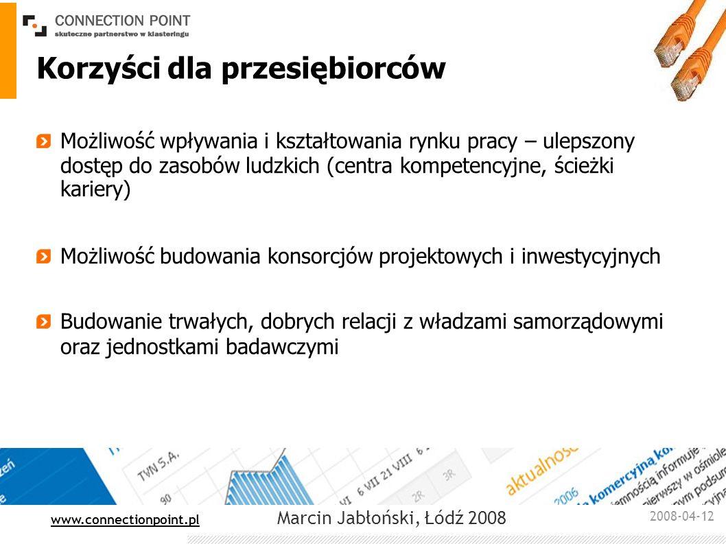 2008-04-12 : www.connectionpoint.pl Marcin Jabłoński, Łódź 2008 Korzyści dla przesiębiorców Możliwość wpływania i kształtowania rynku pracy – ulepszon