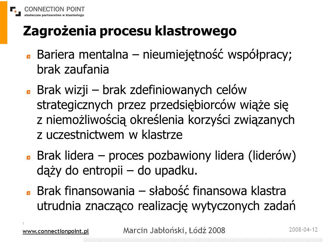 2008-04-12 : www.connectionpoint.pl Marcin Jabłoński, Łódź 2008 Zagrożenia procesu klastrowego Bariera mentalna – nieumiejętność współpracy; brak zauf