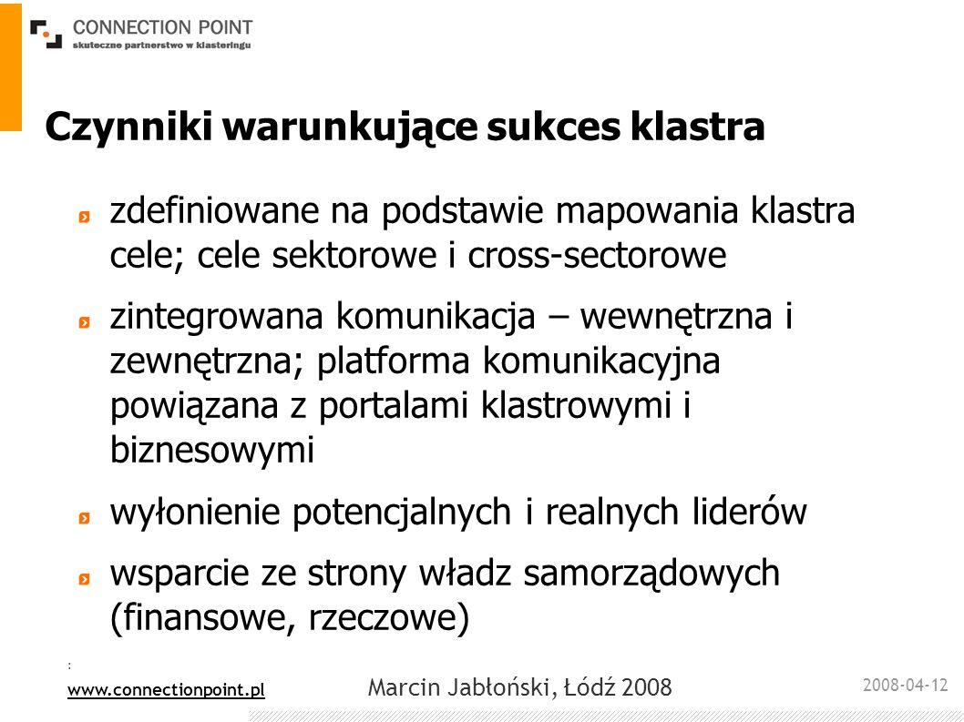 2008-04-12 : www.connectionpoint.pl Marcin Jabłoński, Łódź 2008 Czynniki warunkujące sukces klastra zdefiniowane na podstawie mapowania klastra cele;