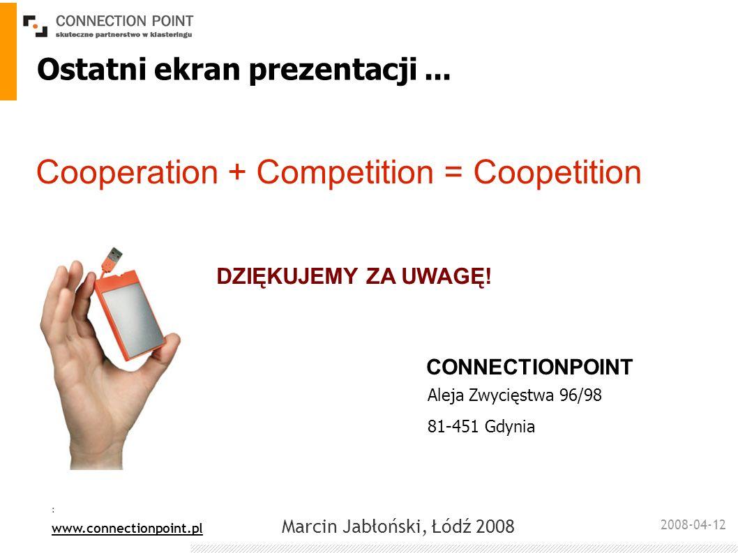 2008-04-12 : www.connectionpoint.pl Marcin Jabłoński, Łódź 2008 Cooperation + Competition = Coopetition Ostatni ekran prezentacji... Aleja Zwycięstwa