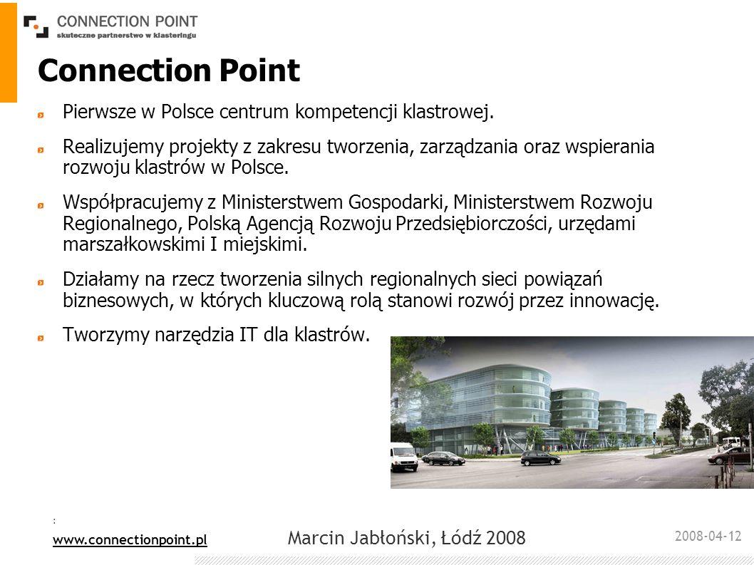 2008-04-12 : www.connectionpoint.pl Marcin Jabłoński, Łódź 2008 Connection Point Pierwsze w Polsce centrum kompetencji klastrowej. Realizujemy projekt