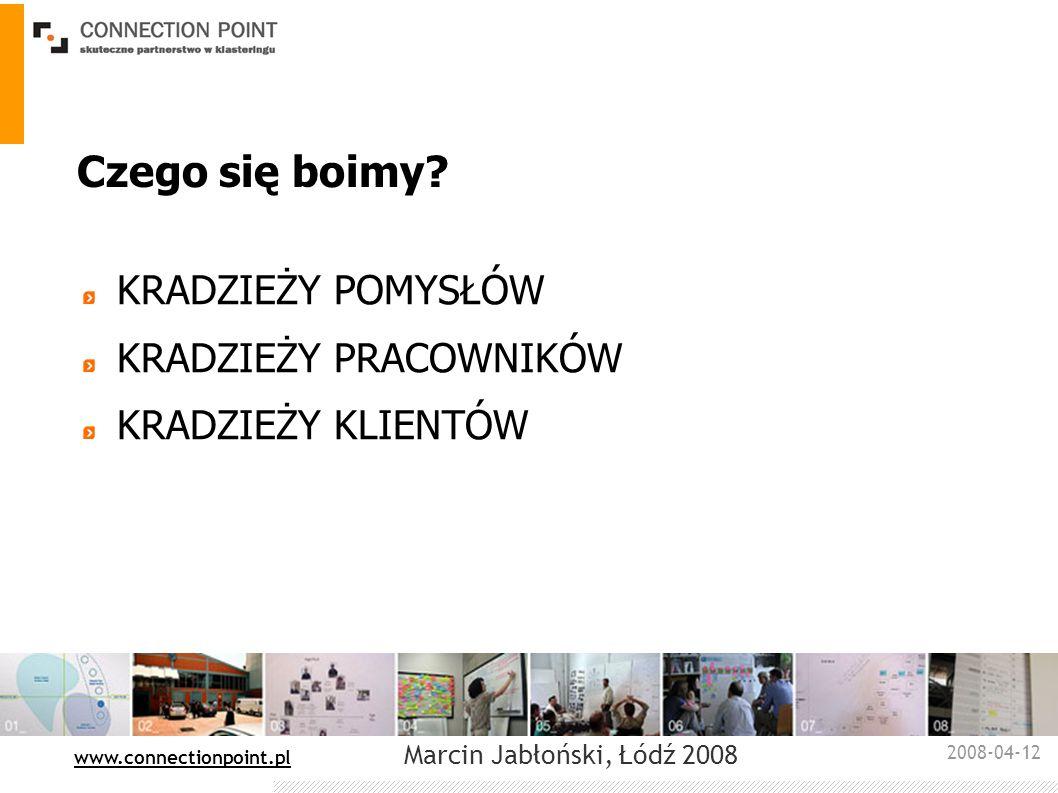 2008-04-12 : www.connectionpoint.pl Marcin Jabłoński, Łódź 2008 Czego się boimy? KRADZIEŻY POMYSŁÓW KRADZIEŻY PRACOWNIKÓW KRADZIEŻY KLIENTÓW