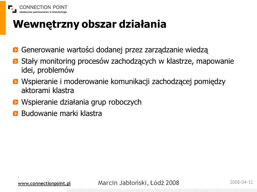 2008-04-12 : www.connectionpoint.pl Marcin Jabłoński, Łódź 2008 Zewnętrzny obszar działania Budowanie relacji inwestorskich Wspieranie relacji ze środowiskiem naukowym, wspieranie spin- offu oraz projektów R+D Reprezentacja w kraju i zagranicą Budowanie marki