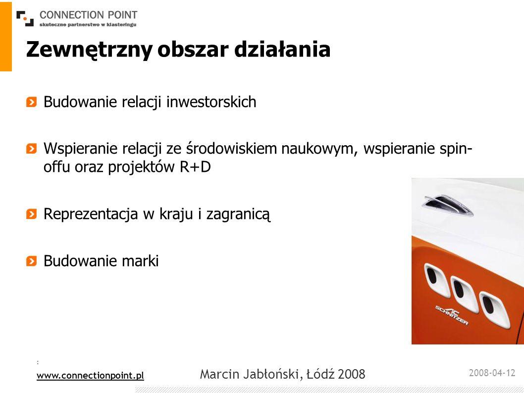 2008-04-12 : www.connectionpoint.pl Marcin Jabłoński, Łódź 2008 Zewnętrzny obszar działania Budowanie relacji inwestorskich Wspieranie relacji ze środ
