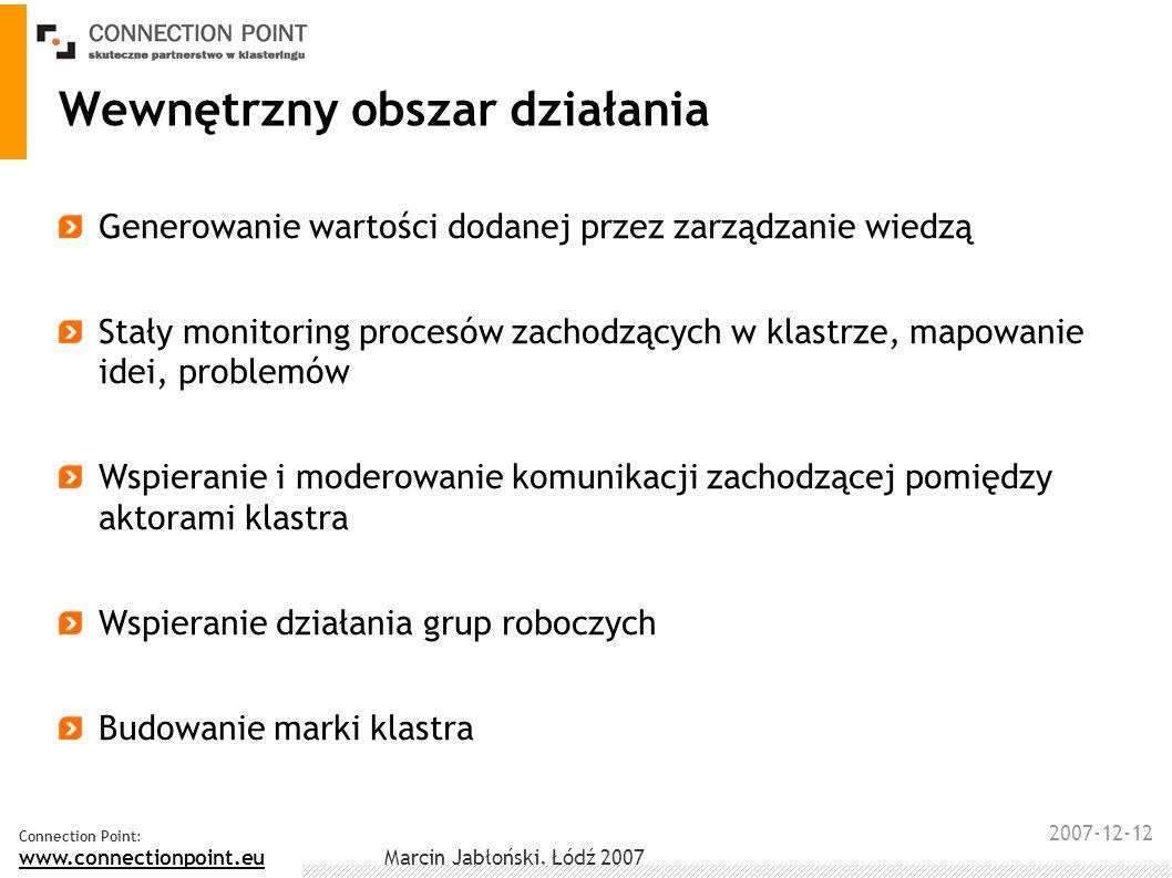 2007-12-12 Connection Point: www.connectionpoint.eu Marcin Jabłoński, Łódź 2007 Wewnętrzny obszar działania Generowanie wartości dodanej przez zarządz
