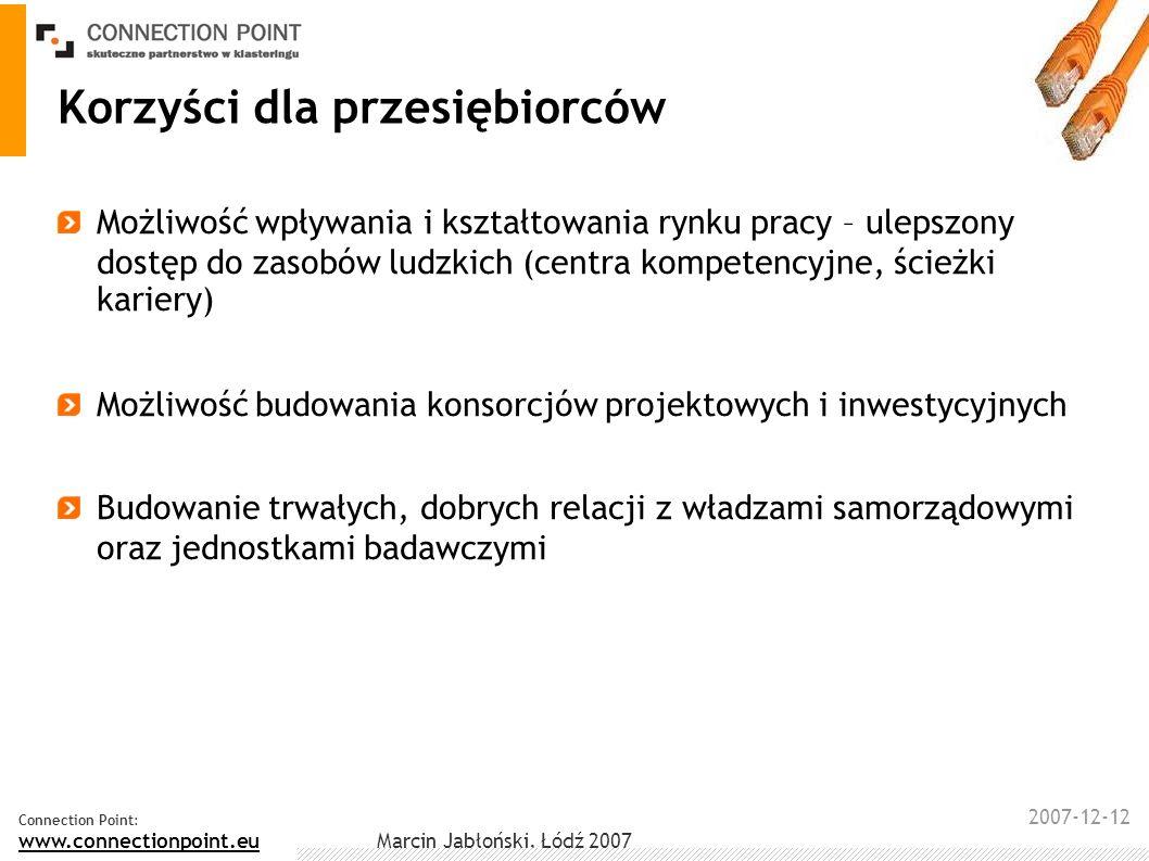 2007-12-12 Connection Point: www.connectionpoint.eu Marcin Jabłoński, Łódź 2007 Korzyści dla samorządu Zysk finansowy – większe przychody z podatków oraz zysk rozpatrywany na płaszczyźnie społeczne Podnoszenie konkurencyjności lokalnych przedsiębiorstw --> lepsze wyniki --> zwiększanie zatrudnienia