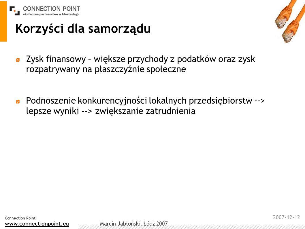 2007-12-12 Connection Point: www.connectionpoint.eu Marcin Jabłoński, Łódź 2007 Korzyści dla samorządu Zysk finansowy – większe przychody z podatków o