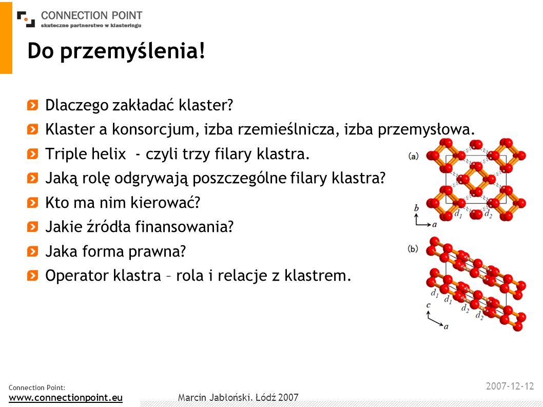 2007-12-12 Connection Point: www.connectionpoint.eu Marcin Jabłoński, Łódź 2007 Do przemyślenia! Dlaczego zakładać klaster? Klaster a konsorcjum, izba