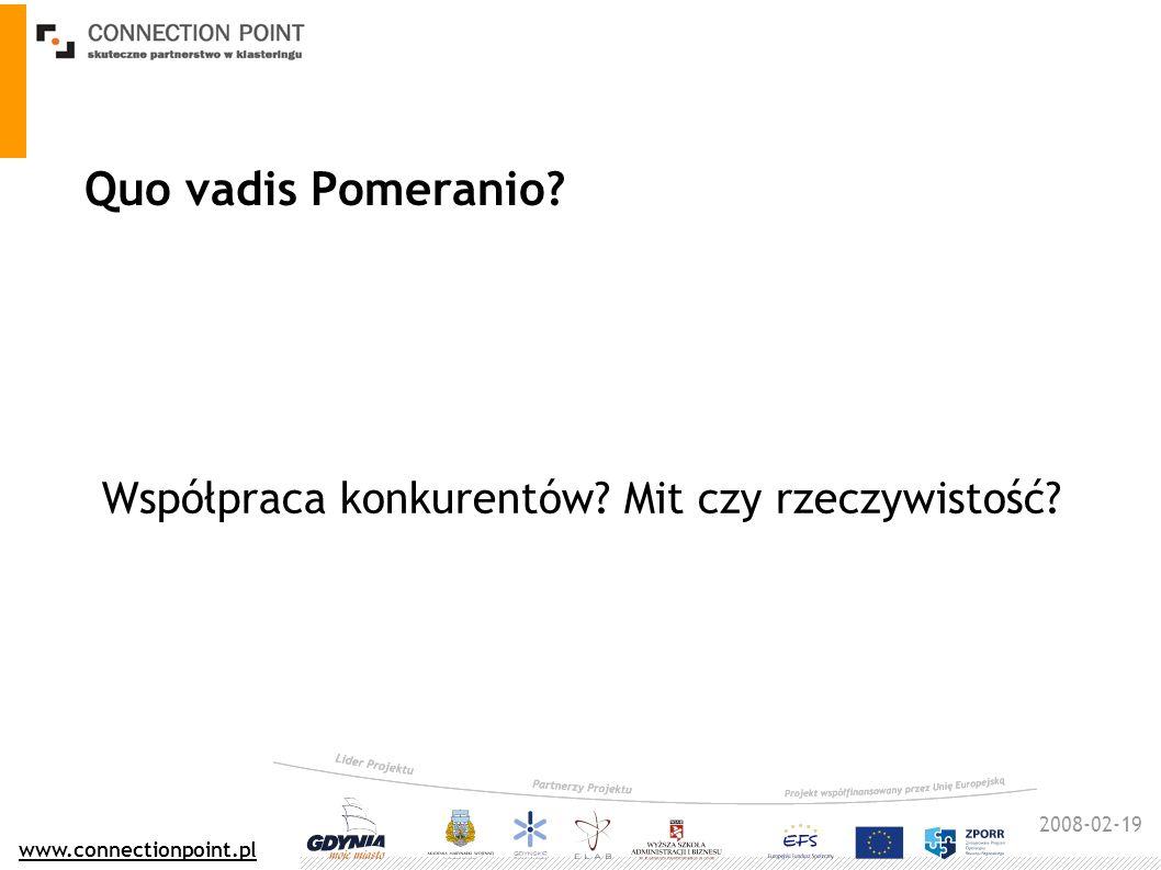 2008-02-19 www.connectionpoint.pl Quo vadis Pomeranio? Współpraca konkurentów? Mit czy rzeczywistość?