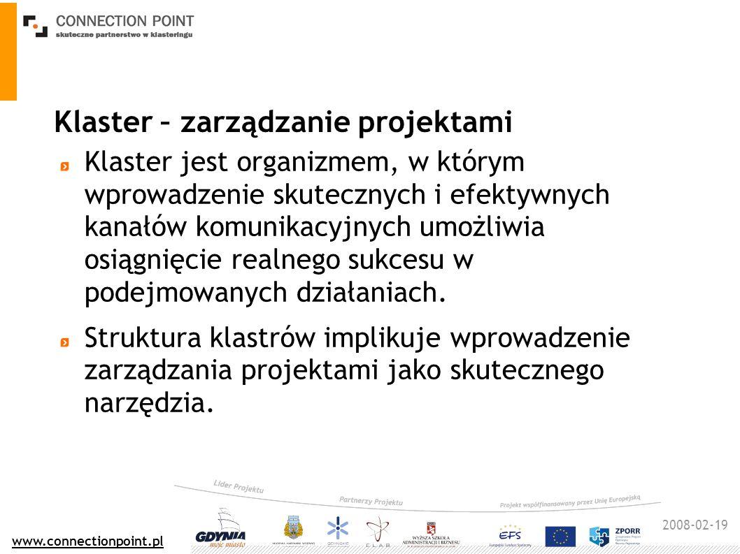 2008-02-19 www.connectionpoint.pl Klaster – zarządzanie projektami Klaster jest organizmem, w którym wprowadzenie skutecznych i efektywnych kanałów komunikacyjnych umożliwia osiągnięcie realnego sukcesu w podejmowanych działaniach.