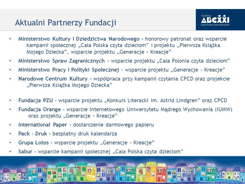 Aktualni Partnerzy Fundacji Ministerstwo Kultury i Dziedzictwa Narodowego – honorowy patronat oraz wsparcie kampanii społecznej Cała Polska czyta dzie