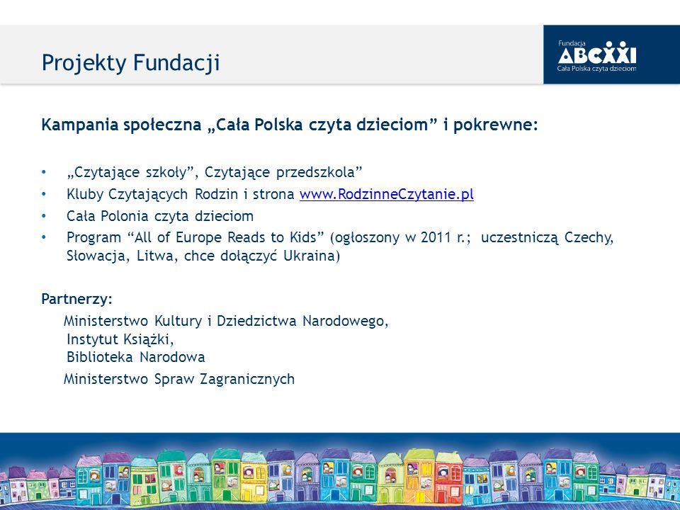 Kampania społeczna Cała Polska czyta dzieciom i pokrewne: Czytające szkoły, Czytające przedszkola Kluby Czytających Rodzin i strona www.RodzinneCzytan