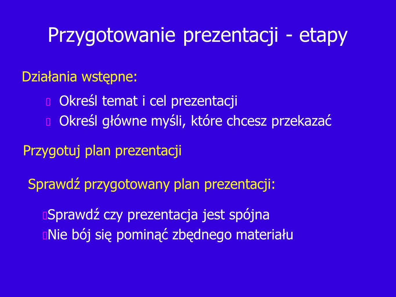 Przygotowanie prezentacji - etapy Określ temat i cel prezentacji Określ główne myśli, które chcesz przekazać Działania wstępne: Przygotuj plan prezentacji Sprawdź przygotowany plan prezentacji: Sprawdź czy prezentacja jest spójna Nie bój się pominąć zbędnego materiału