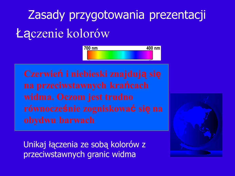 Zasady przygotowania prezentacji Łą czenie kolorów Unikaj łączenia ze sobą kolorów z przeciwstawnych granic widma Czerwie ń i niebieski znajduj ą si ę